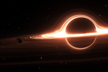 A black hole's accretion disk swirls around it, emitting x-rays.
