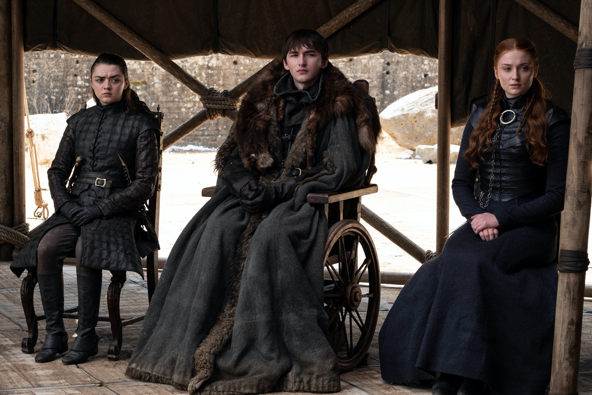Still of the Stark children in series finale of Game of Thrones