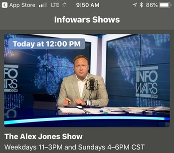 Alex Jones on Infowars app