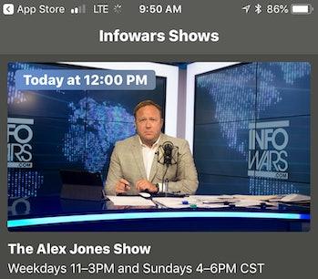 Alex Jones on Infowars app