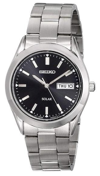 Seiko Silvertone Solar Calendar Watch