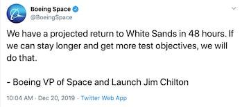 Boeing tweet re Starliner