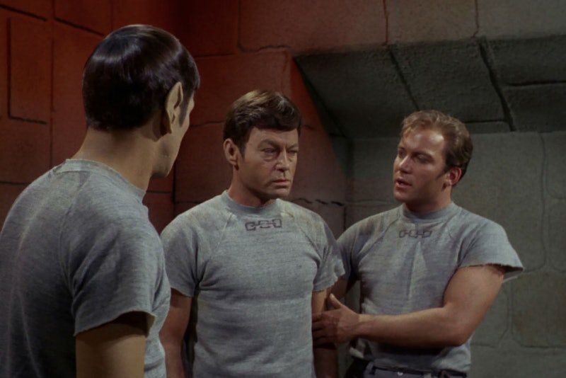 """Spock, Bones and Kirk in """"Bread and Circuses."""""""