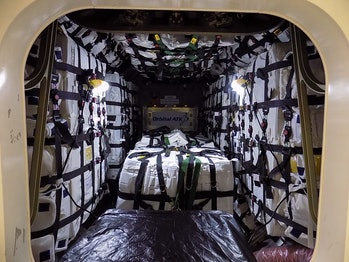 A view inside the Cygnus as it was packed up before launch.