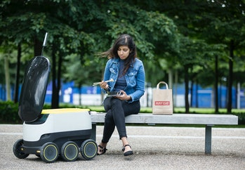 LONDON, ENGLAND - JULY 05: JUST EAT pilots a Starship robot to deliver food from its takeaway restaurants on July 5,2016in London, England. (Photo by John Phillips/Getty Images for JUST EAT )