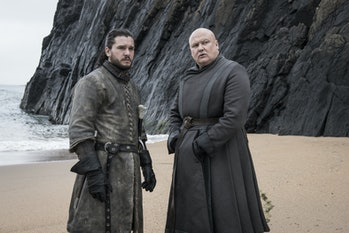 Jon Snow (Kit Harington) and Varys (Conleth Hill) on the beach in 'Game of Thrones'