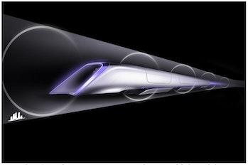 "A ""Hyperloop passenger transport capsule conceptual design rendering"" as seen in Elon Musk's 2013 Hyperloop Alpha whitepaper."