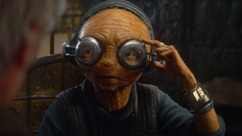 """""""Where's my boyfriend?"""" - Maz Kanata talking about Chewbacca in 'The Force Awakens.' (I ship it and you love life, you do too.)"""