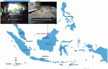 The West Mouth of the Niah Caves and its location within island Southeast Asia