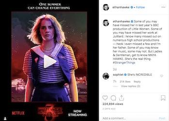 Instagram Ethan Hawke Maya Hawke Stranger Things