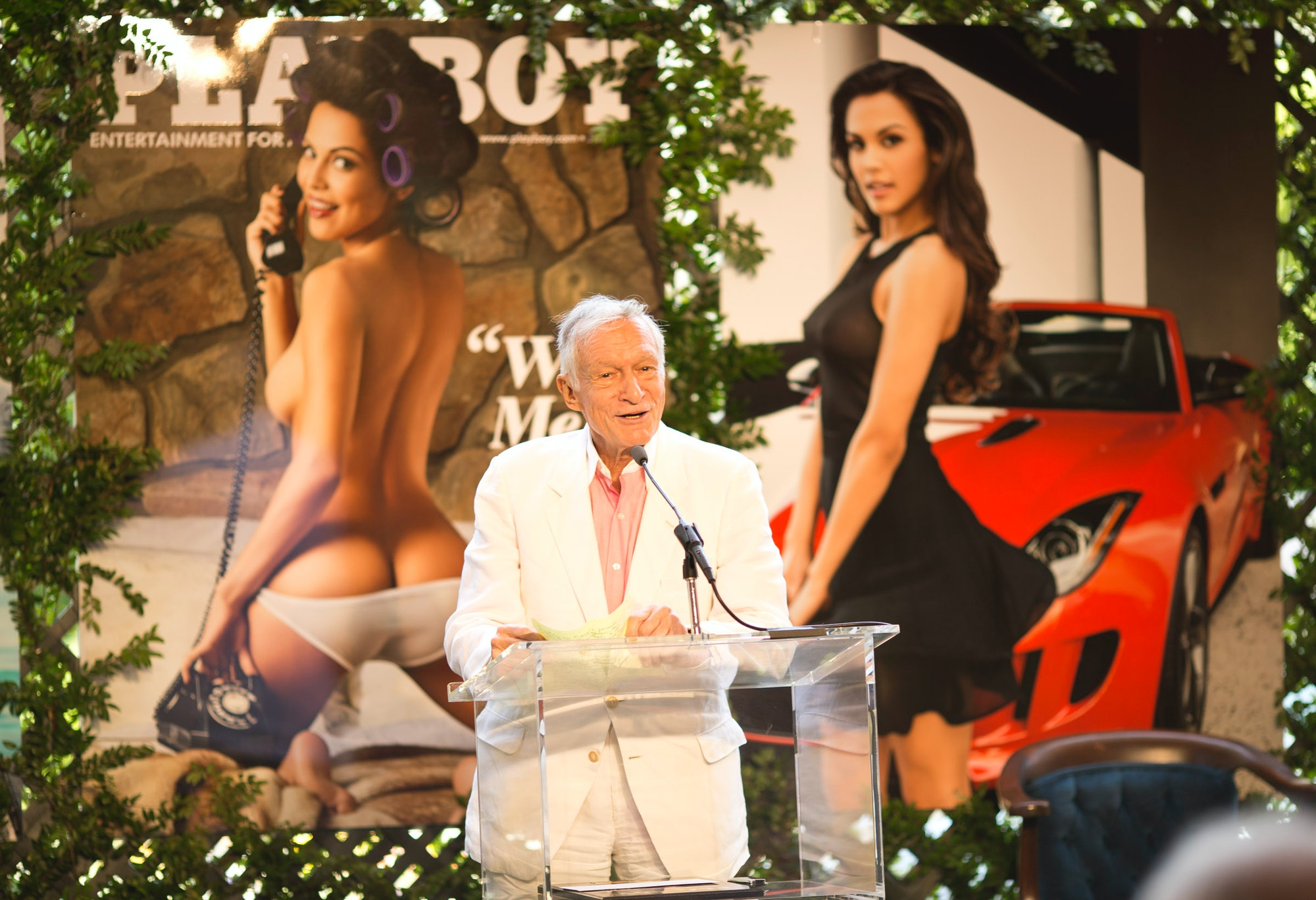 HOLMBY HILLS, CA - MAY 09: Hugh Hefner speaks onstage during Playboy's 2013 Playmate Of The Year luncheon honoring Raquel Pomplun at The Playboy Mansion on May 9, 2013 in Holmby Hills, California. (Photo by Christopher Polk/Getty Images for Playboy)