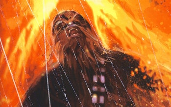 Chewbacca died in the novel 'Vector Prime' but it was also depicted in several Dark Horse Comics