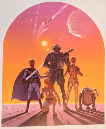 "Ralph McQuarrie's ""Fantastic Five"" concept art from April 1975."