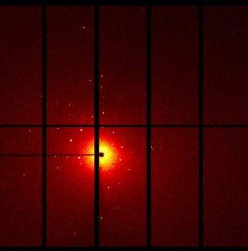 This is a diffraction pattern that results when you shoot an X-ray beam at a single crystal.