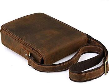 Jack&Chris Men's Handmade Leather Messenger Bag Shoulder Bag