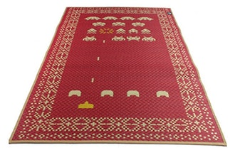 Space Invaders Rug Floor Mat Red Tatami Retro Game Pattern