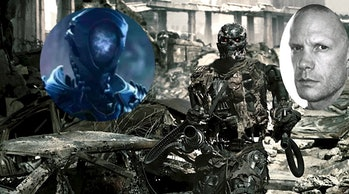 Same killer robot actor, different day. (Brian Steele in 'Lost In Space' and 'Terminator: Salvation.'