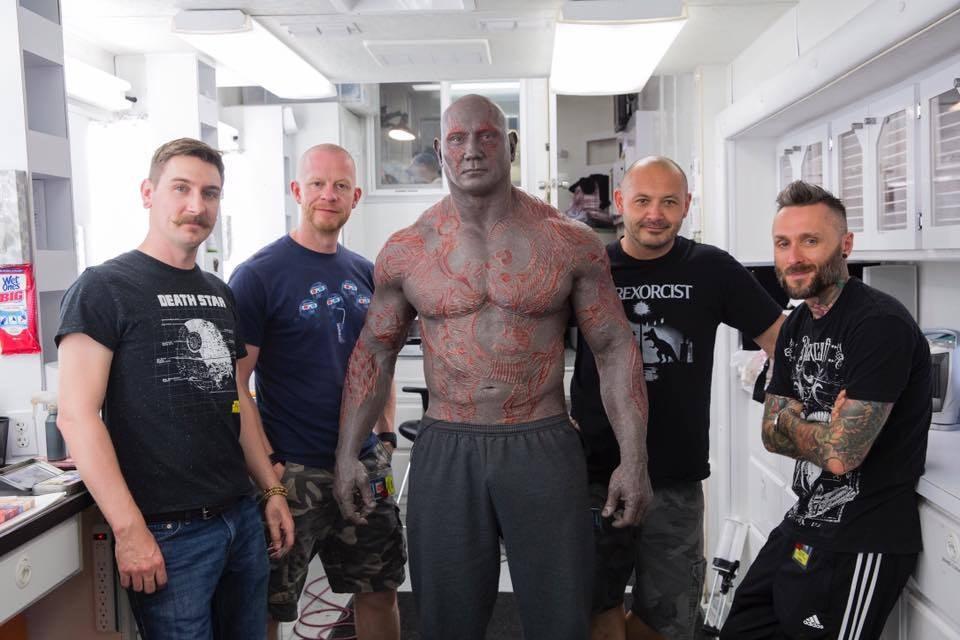 Dave Bautista and his makeup team.