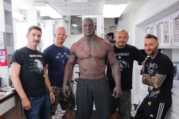 Dave Bautista and his makeup team.