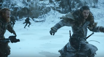 Jon Snow and Tormund run from something mysterious North of the Wall in 'Game of Thrones' Season 7