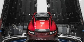 Elon Musk's Tesla Roadster inside a payload fairing in a photo shared in December 2017. The car will be put into a Mars orbit around the sun.