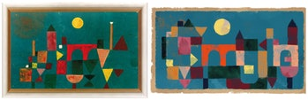 On the left is Paul Klee's original painting and on the right is the homage paid to it by Google.