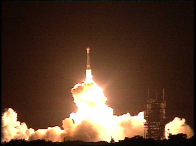 Opportunity launches from Earth on July 7, 2003aboard the Delta II rocket from Cape Canaveral Air Force Station in Florida. It arrived on Mars on January 25, 2004.