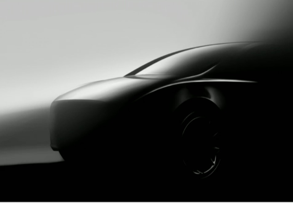The Model Y image unveiled at the shareholder meeting.