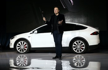 Elon Musk introducing the Model X in September 2015. The car now accounts for almost half of the company's deliveries.