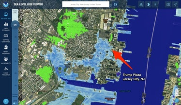 trump plaza jersey city sea level rise projection map
