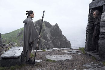 Daisy Ridley and Mark Hamill in 'The Last Jedi'