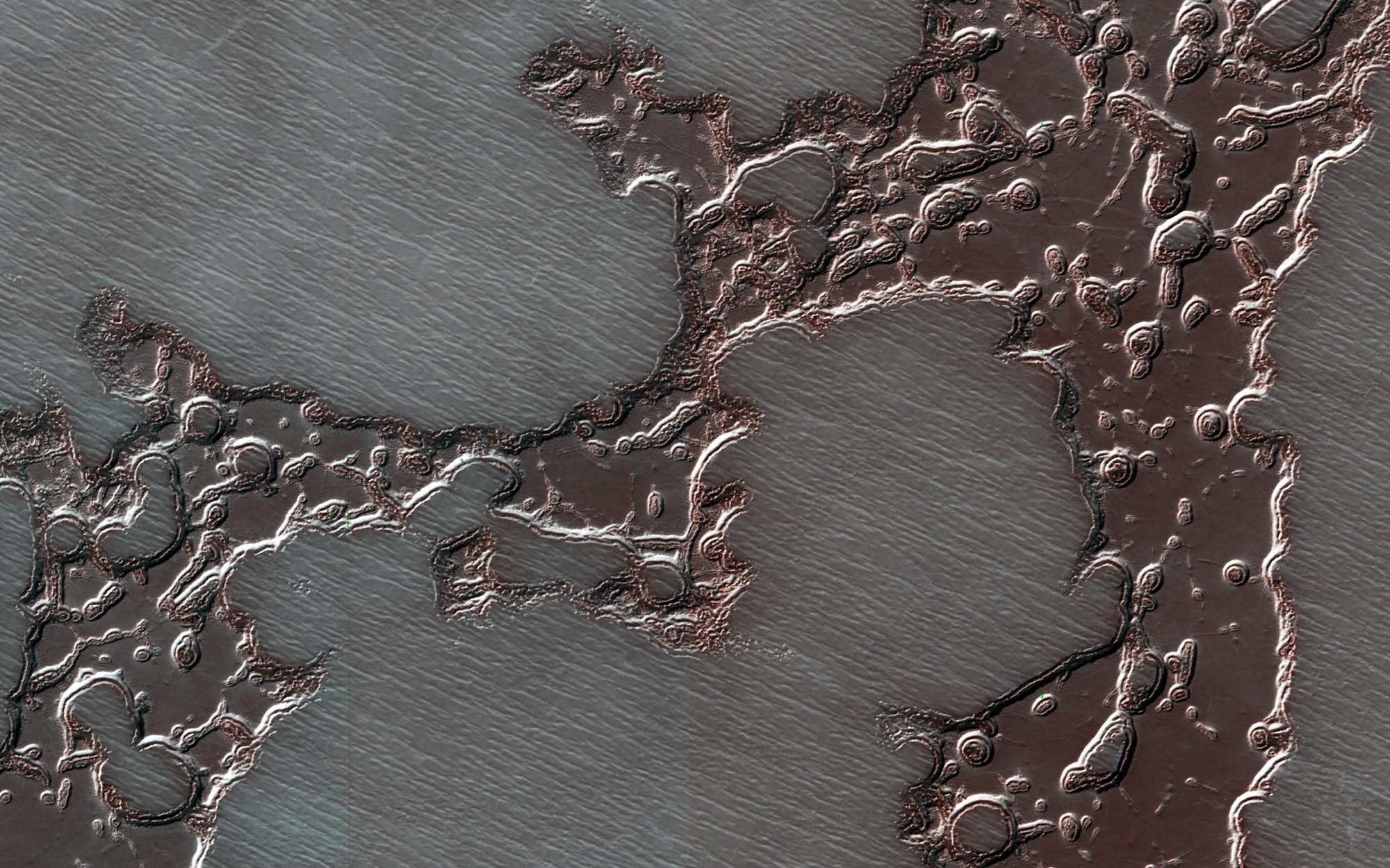 A mesa of frozen carbon dioxide at Mars' south pole.