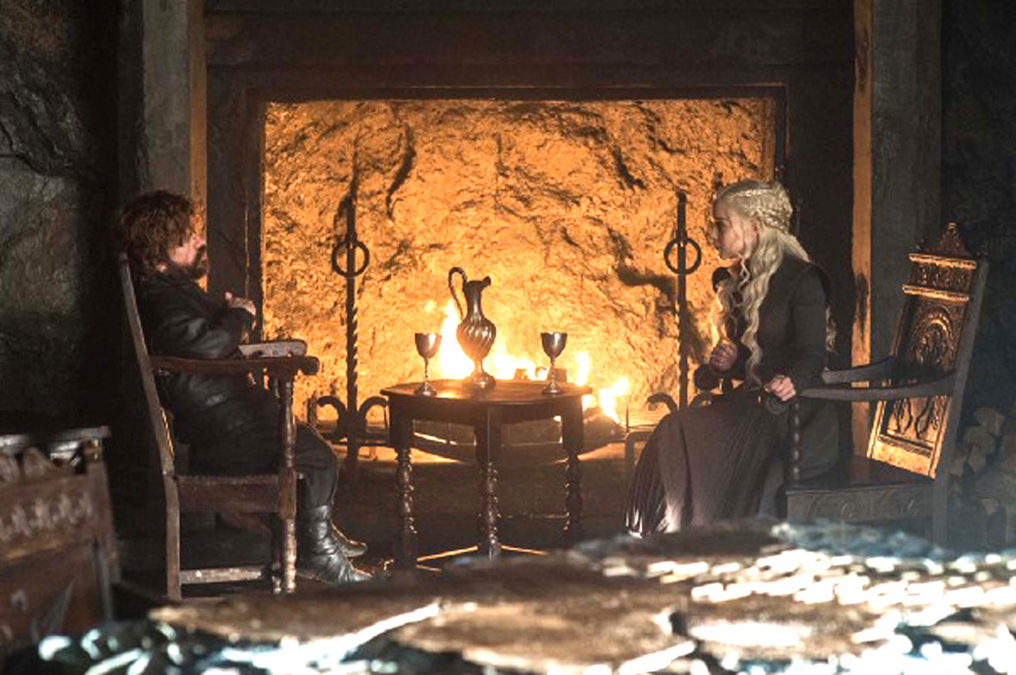 "Peter Dinklage and Emilia Clarke in 'Game of Thrones' Season 7 episode 6, ""Beyond the Wall"""