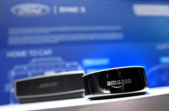An Amazon Echo device is displayed at the Ford booth at CES 2017 at the Las Vegas Convention Center on January 5, 2017 in Las Vegas, Nevada.