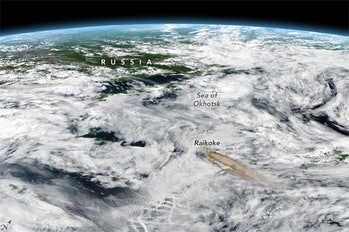 Storm winds in the Pacific pulled ash from the Raikoke eruption to the east.