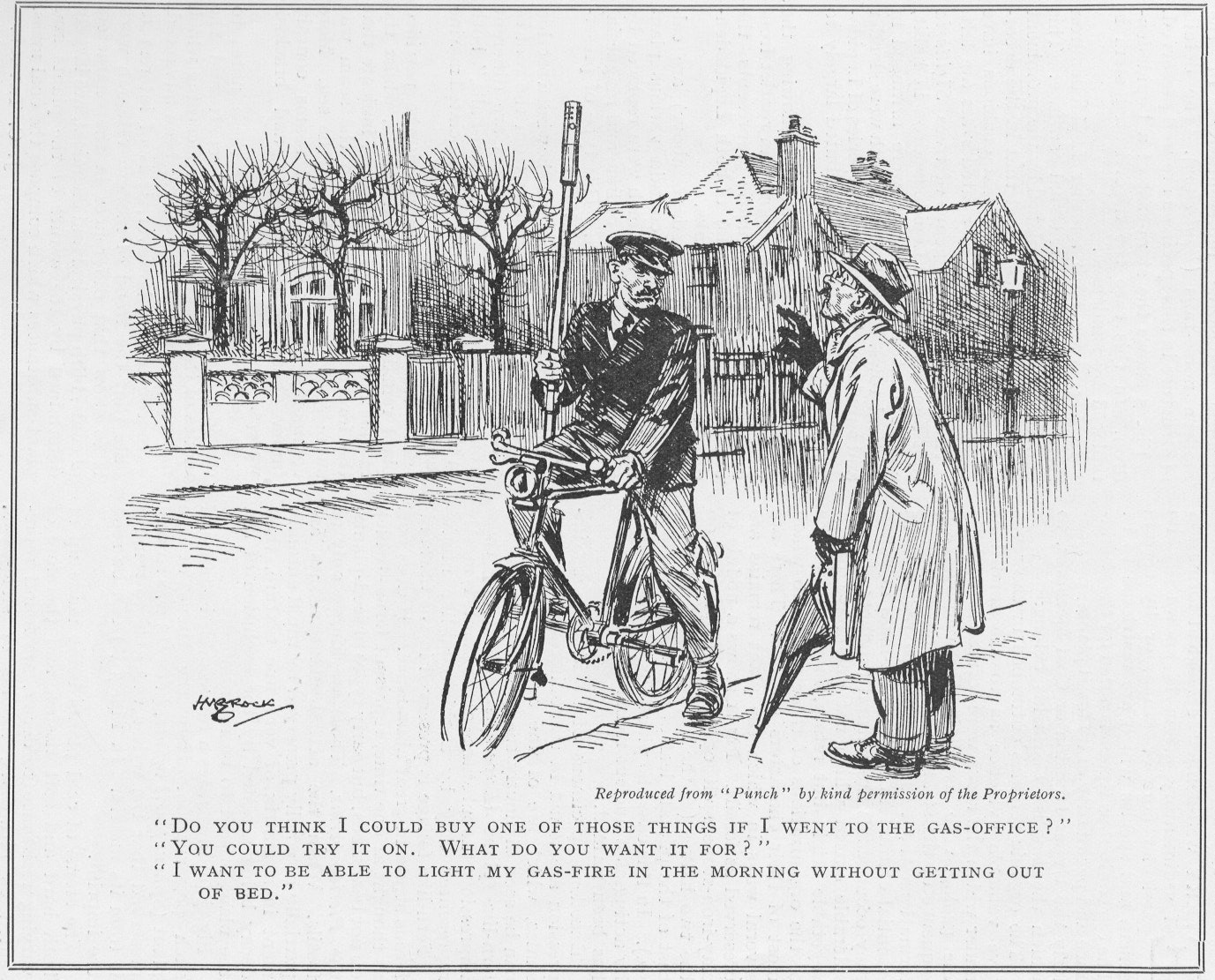 A 1930 cartoon from the periodical 'Punch' features a bicycle-riding lamplighter.