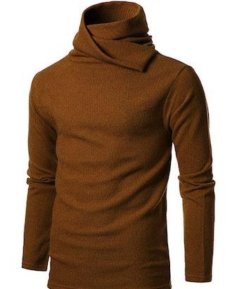 GIVON Mens Slim Fit Soft Cotton Blend Abundant Turtle Neck Pullover Sweater