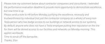 elon musk email leak tesla contractors
