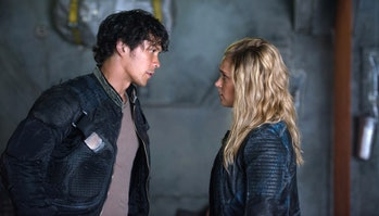 "Bob Morley and Eliza Taylor in ""The 100"" Season 4"