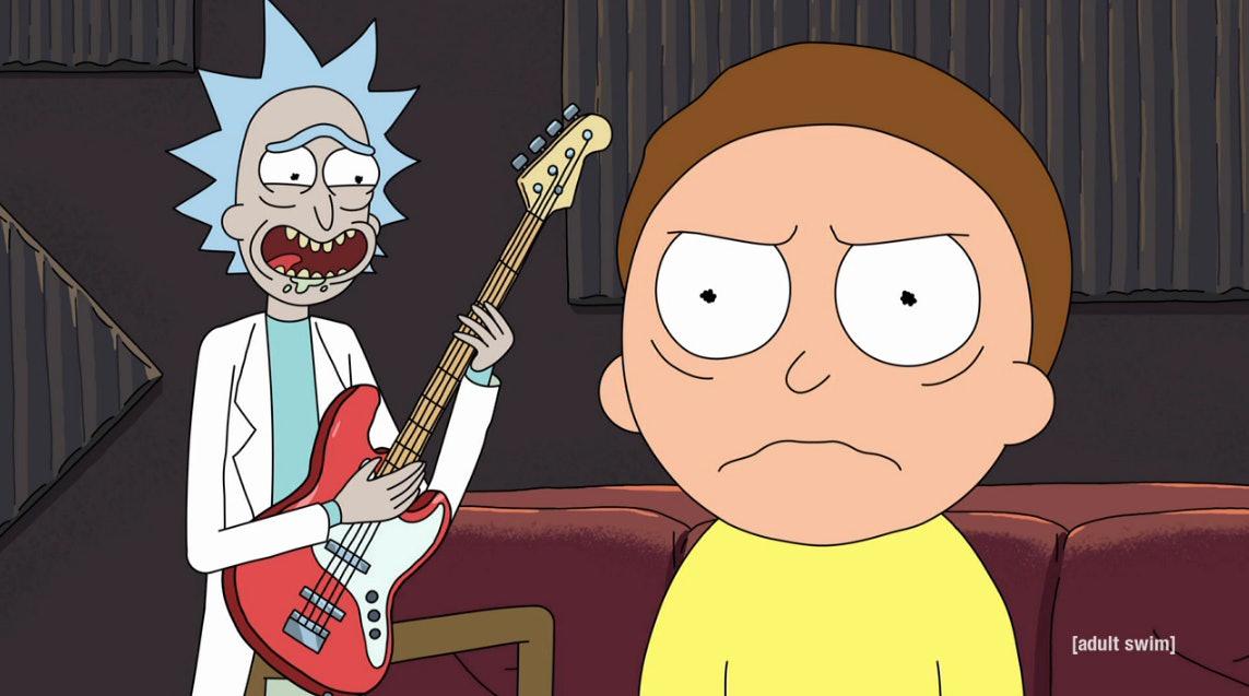 "Rick wielded a guitar in ""Get Schwifty."""
