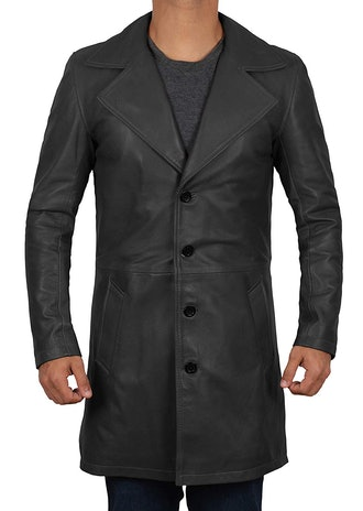 Leather Trench Coat Men's