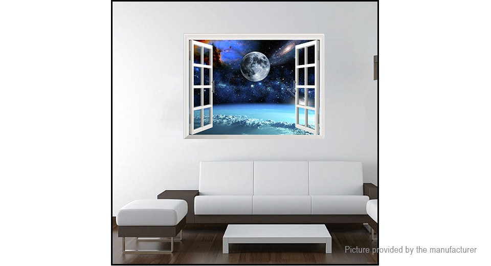 3D Universe Space Window Styled Removable Wall Sticker Home Decor