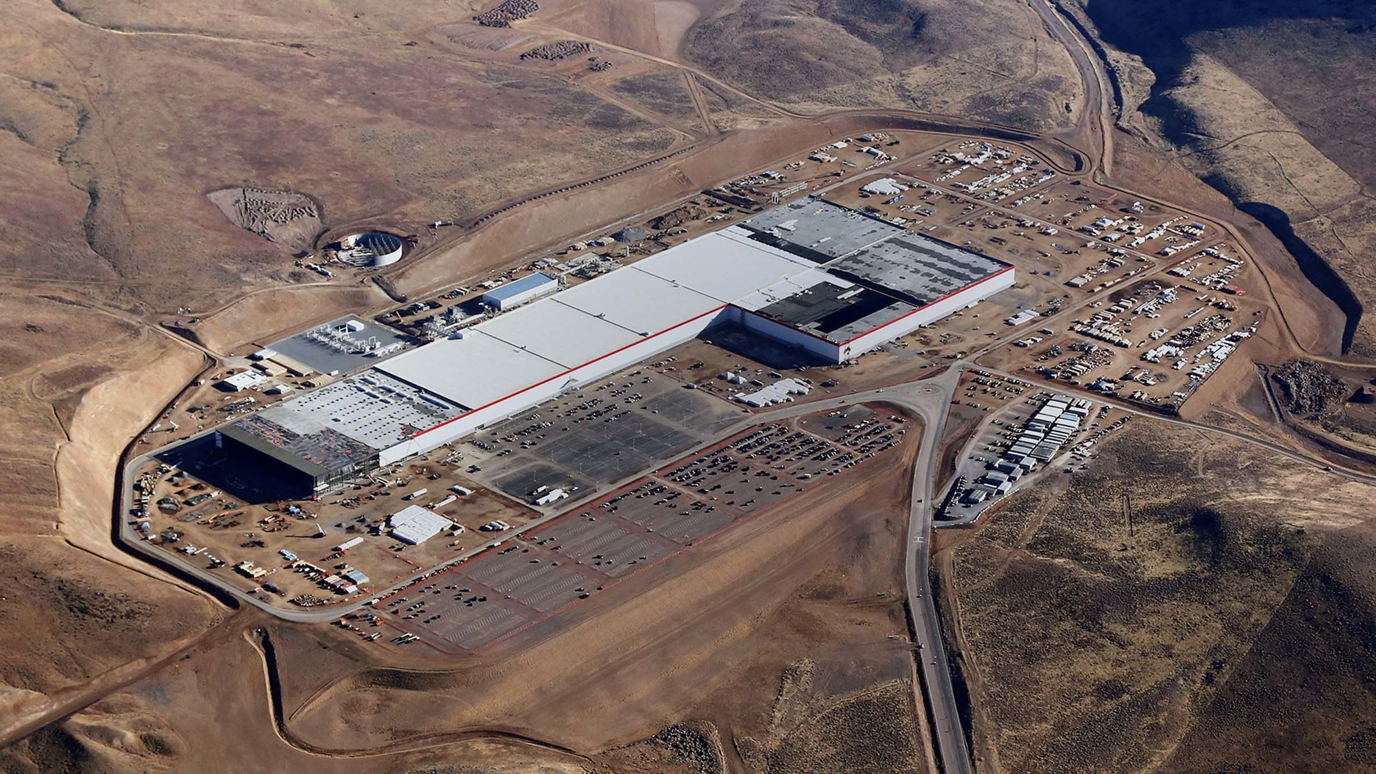 Tesla's Gigafactory from the air. On Wednesday, the company announced it had started producing batteries to go in Tesla's electric cars.
