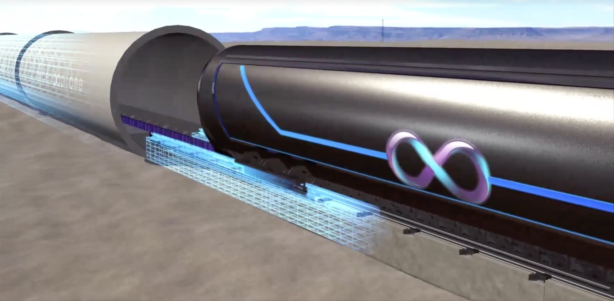 A rendering of what Hyperloop One wants its train-style pod to look like as it travels through a low-pressure tube at speeds of around 700 mph.