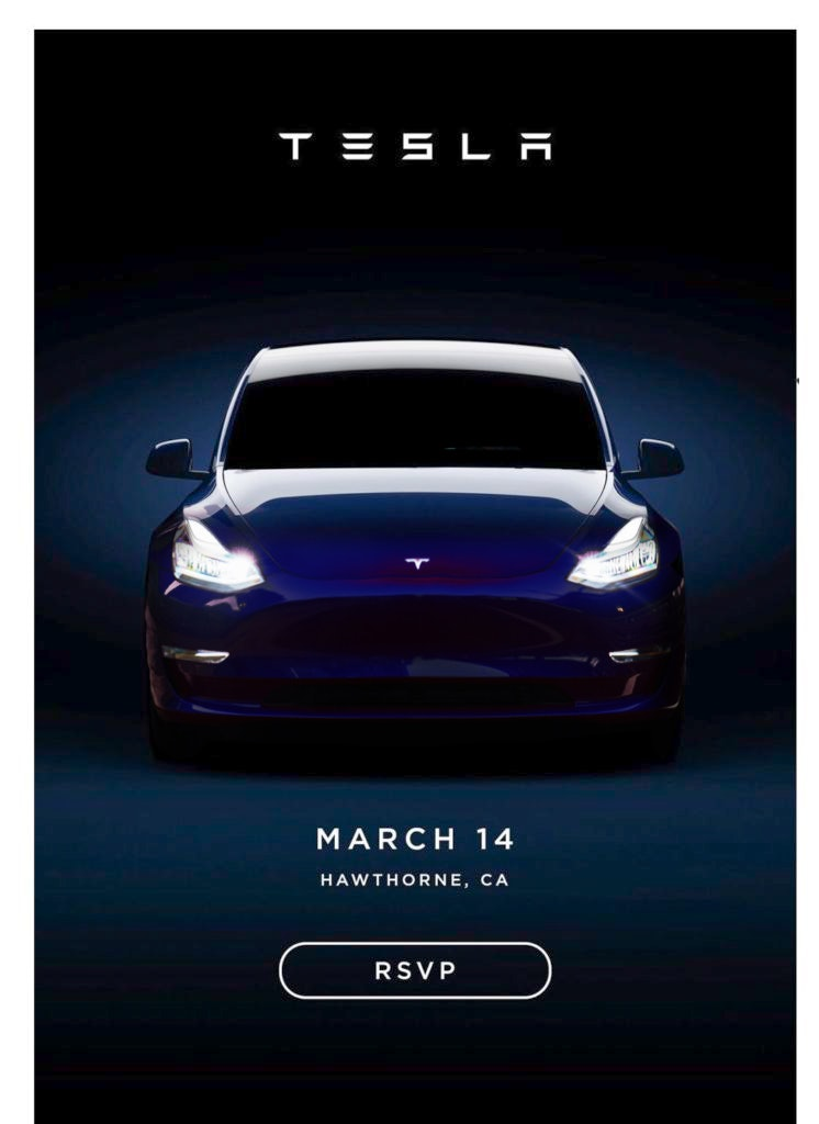 The Model Y on the event invite.