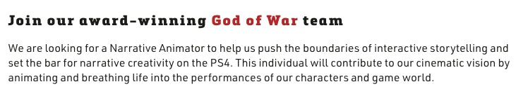 god of war ps5 job listing sms