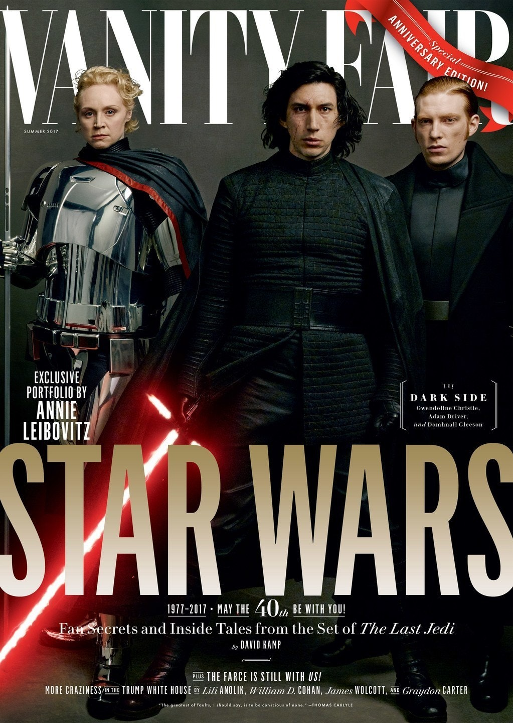 Captain Phasma (Gwendoline Christie), Kylo Ren (Adam Driver), and General Hux (Domhnall Gleeson) are all leaders in the First Order.