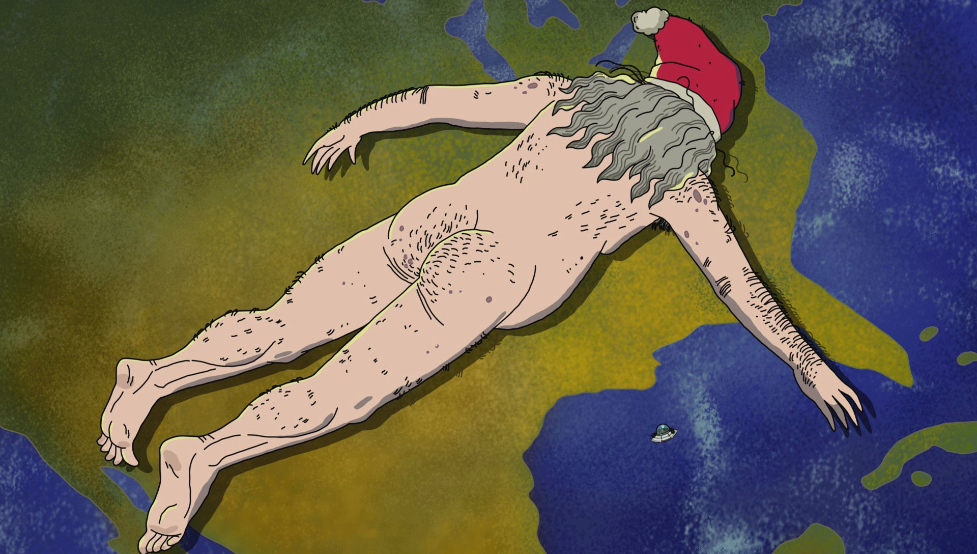 """Giant naked Santa in 'Rick and Morty"""" """"Anatomy Park"""""""