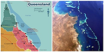 Great Barrier Reef map satellite imagery water Australia coast Coral Sea Pacific Ocean