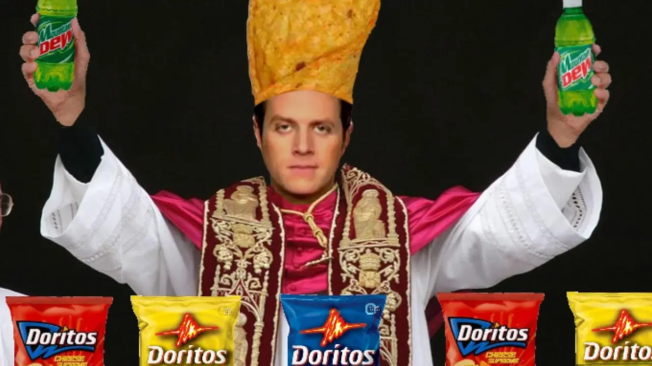 """A meme depicting Keighley as """"Dorito pope."""""""